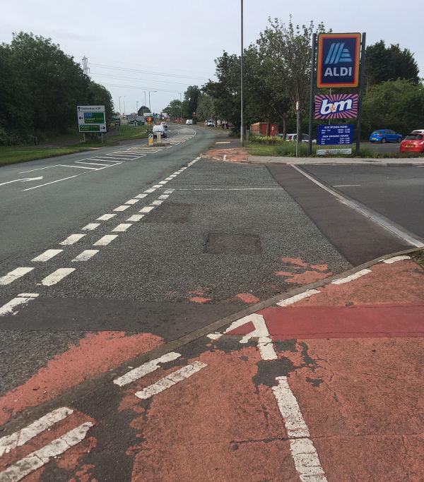Continue bike route across junction