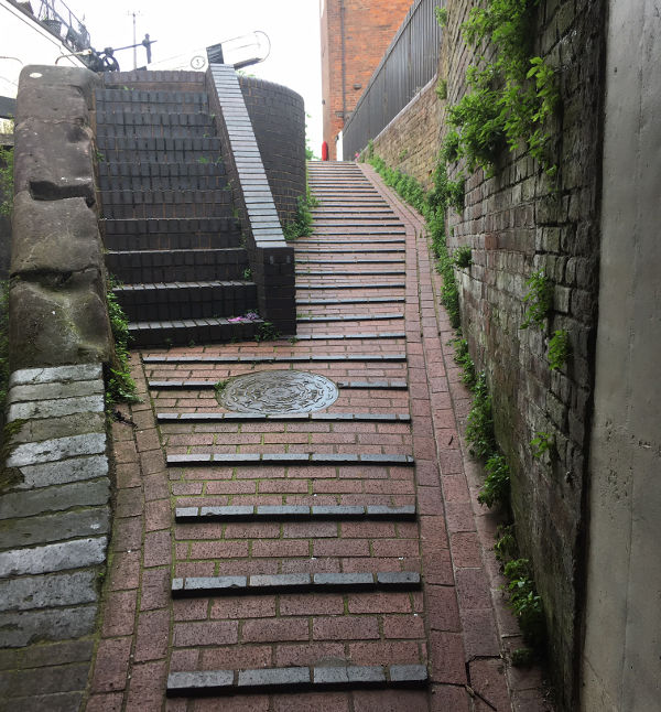 Modify tow path to remove brick steps