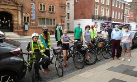 Protest in support of cycle parking opposite Museum & Art Gallery