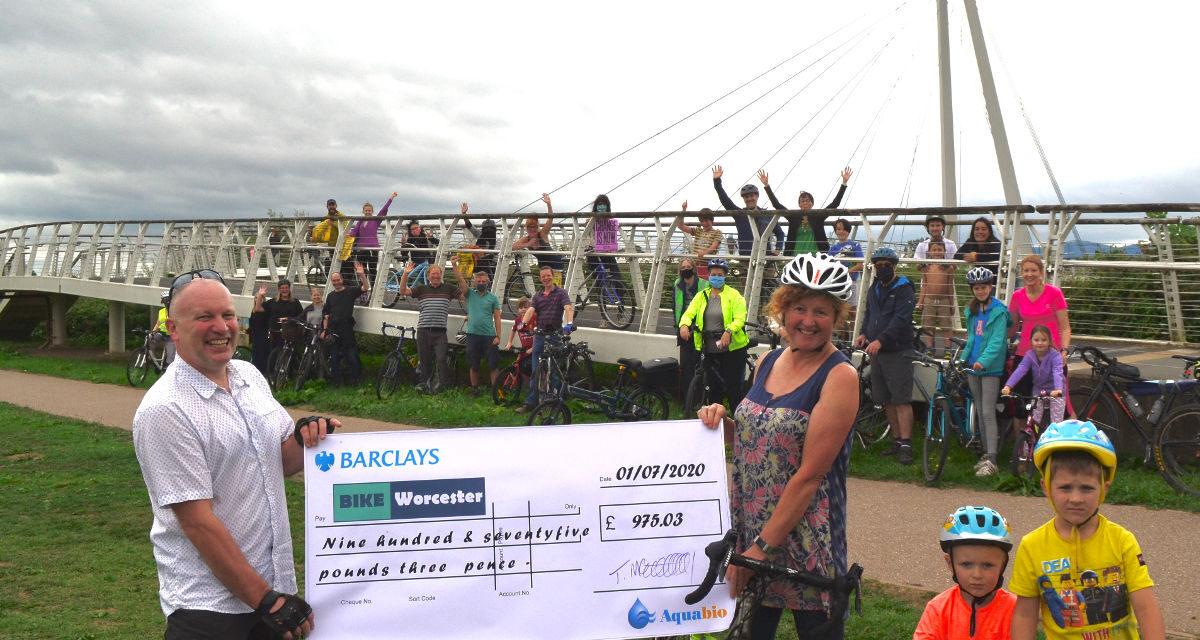 Bike Worcester receive donation from Aquabio
