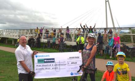 Bike Worcester receive donation from Aquabio