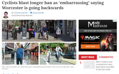 Extension of cycling ban in Worcester city centre 'an embarrassment'